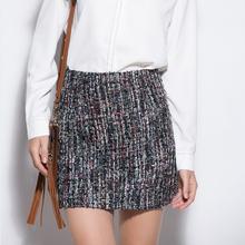 Buy Women Retro Sequin Tweed Wool Skirt Spring High Waist Slim Pencil Mini Skirt Autumn Womens Fashion Woolen Short Skirts Jupe for $12.99 in AliExpress store