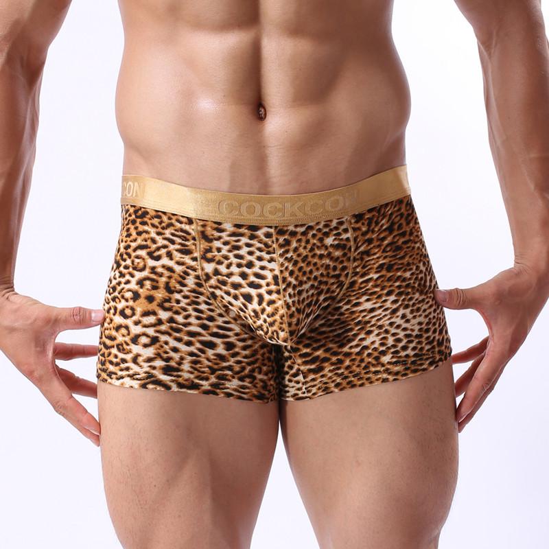 High quality men boxers shorts Cheap Mens novelty leopard print underwear(China (Mainland))