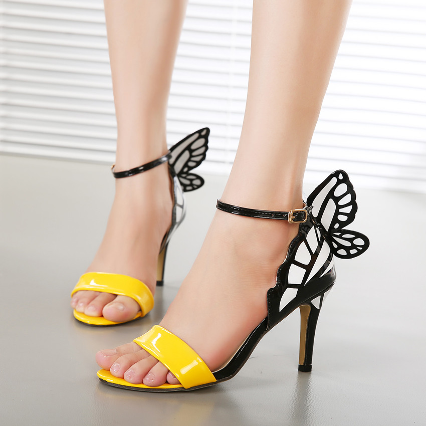 New fashion sexy dream Butterfly buckle strap women pumps sandals ladies pointed toe wedding party high heeles shoes woman