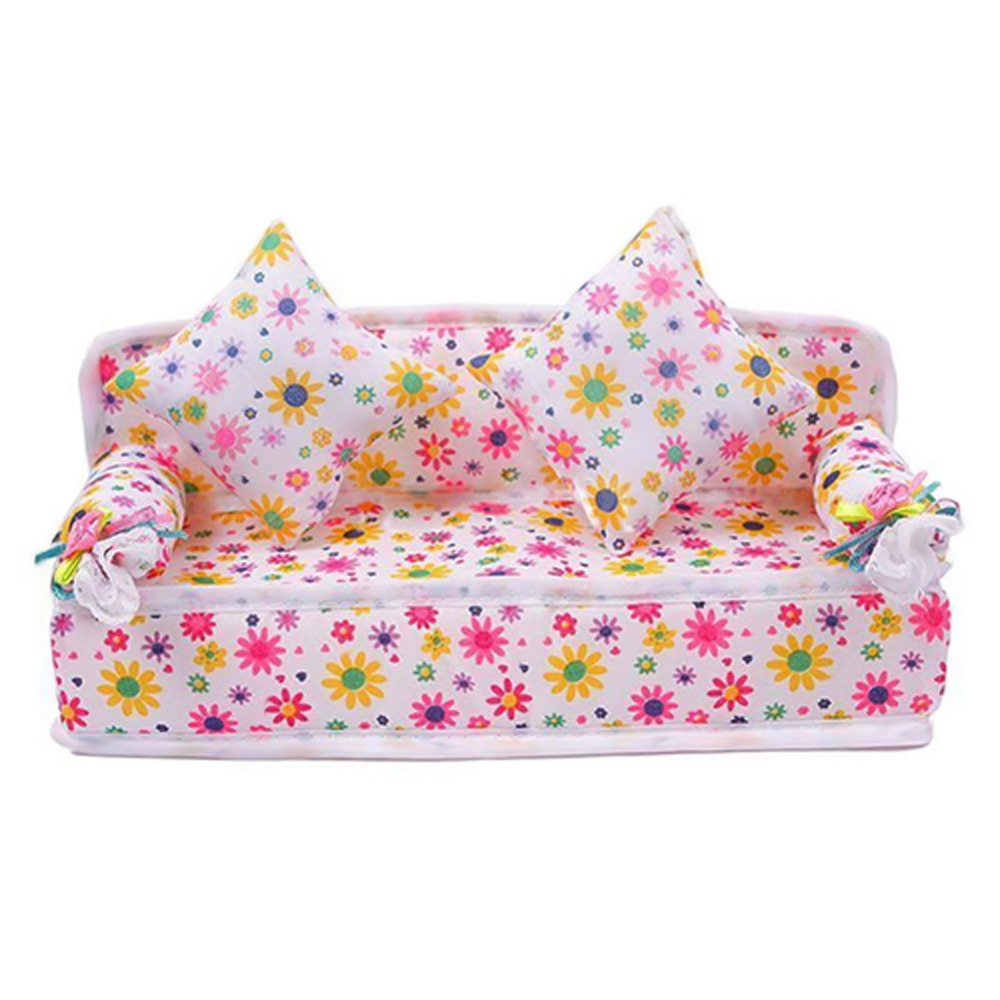 Chic Mini Dollhouse Furniture Flower Soft Sofa Couch With 2 Cushions For Doll House Accessories(China (Mainland))
