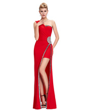 Grace Karin Split Side red long evening dresses 2016 Milk Fiber sequin evening gowns robe de soiree female women prom vestidos(China (Mainland))