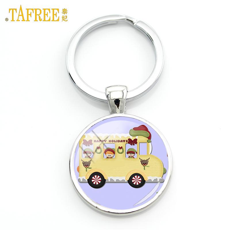 TAFREE happy kids school bus keychain fashion British London Double Decker Bus key chain ring holder Peace hippie car gifts H154(China (Mainland))