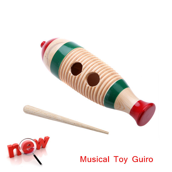Toy Musical Instrument Wooden Guiro Fish-Shaped Colorful Kid Children Musical Toy Percussion Instrument New Arrival(China (Mainland))