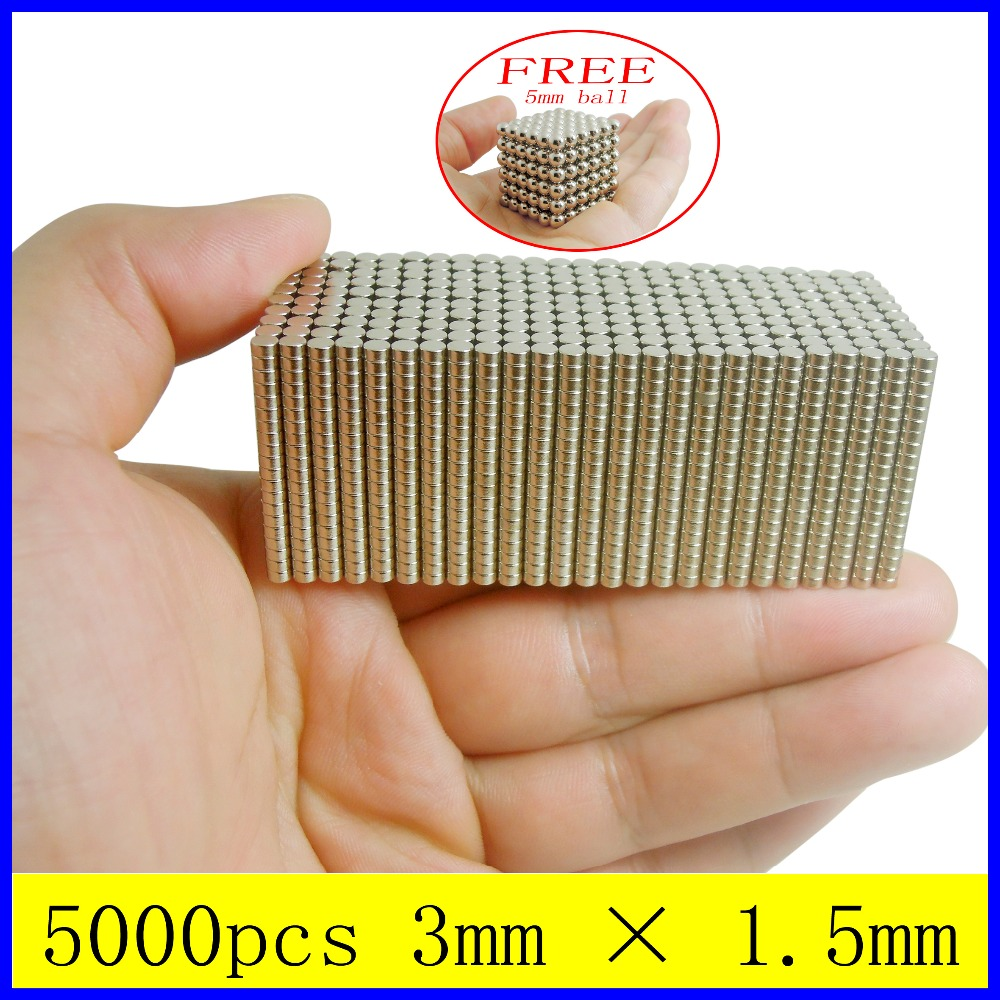 5000pcs 3mm x 1.5mm N35 Circular Disc Rare Earth Neodymium Magnet For Crafts Arts Models Making Free 5mm 216 Sphere Magnet Ball(China (Mainland))