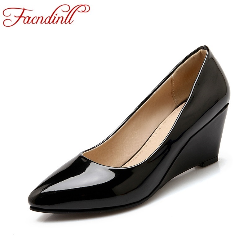 plus size 2017 spring women wedges red shoes wedding wedge high heel shoes woman pointed toe women shoes ladies work pumps shoes(China (Mainland))
