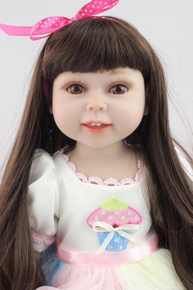 Black long  hair AMERICAN GIRL Dolls 18 Reborn Baby dolls full handmade newborn baby doll baby toys soft girls gift<br><br>Aliexpress