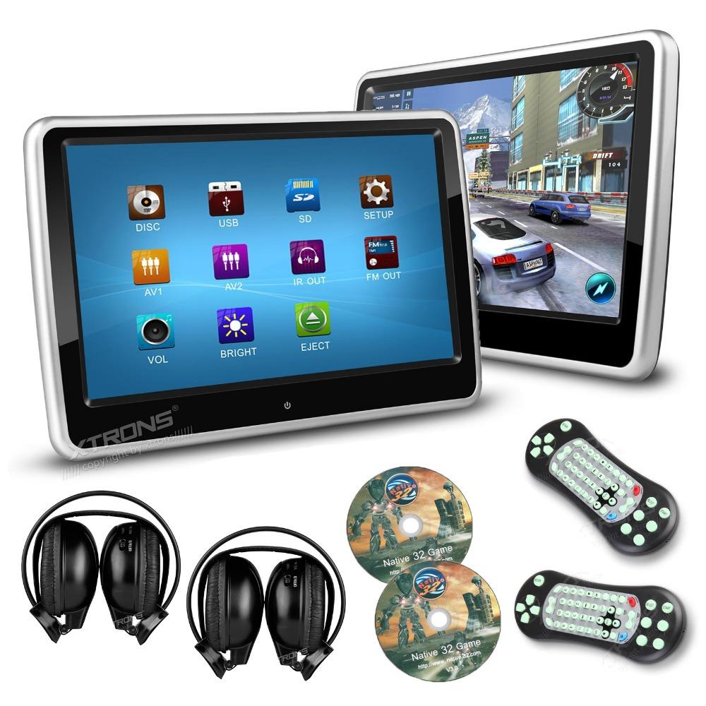 2pcs/ lot 10.1 Inch HD Digital Touch Screen Car Headrest DVD Player 1024*600 Ultra-thin Detachable 2 IR Headphones(China (Mainland))