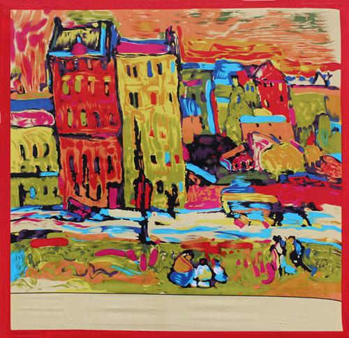 90x90cm Impressionist style 100% Silk Scarf Women Van Gogh painting NeckerChief Bandana Large Square Office Lady Gift  -  Dahomemon Store store