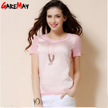 t shirt women 2016 chiffon silk short sleeve o-neck solid 12 color brand for woman femal tops and T-shirts Y050(China (Mainland))
