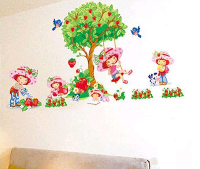 Swing girls an apple tree removable wall decals home decor for Apple tree mural