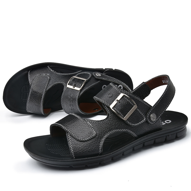 2016 Summer Fashion High Quality Men Leather Sandals Comfortable Breathable Casual Rome Sandals Shoes Men Brand OSCO 41-47(China (Mainland))
