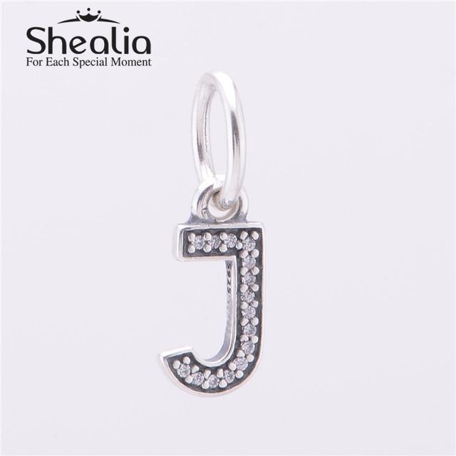 Аутентичные 925 серебряная буква J болтаться подвески подвеска с четкими CZ для женщин подходит известный бренд DIY браслеты LE13J