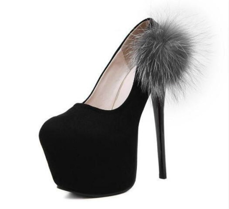 The new high-heeled shoes with fine Suede sexy shallow mouth shoes Fox fur shoes
