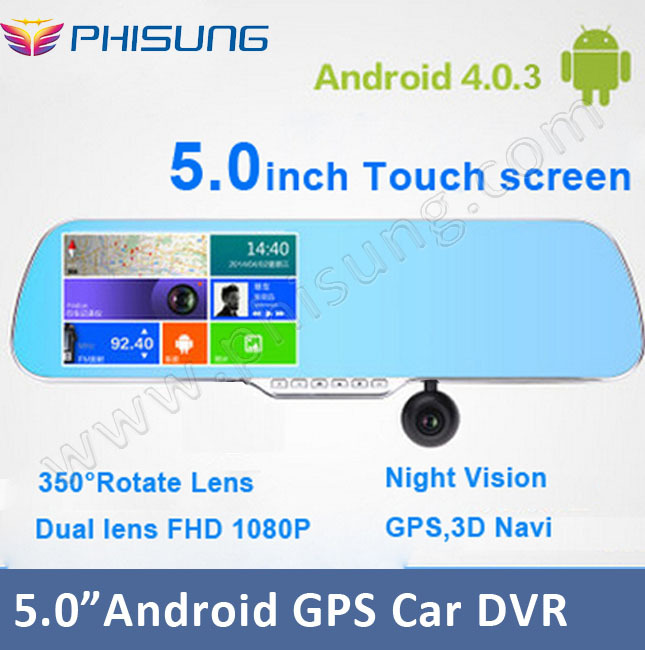 """New 5.0""""Touch Android GPS WiFi FM FHD 1080P dash camera parking car dvrs Rearview mirror video recorder Car DVR Dual Camera GPS(China (Mainland))"""