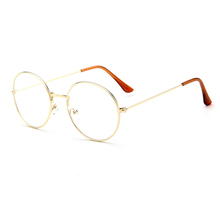 2016 Newest Vintage Women Glasses Frame Harajuku Retro Plain Mirror Metal Round Optical Frame Clear Lens Sunglasses Oculos