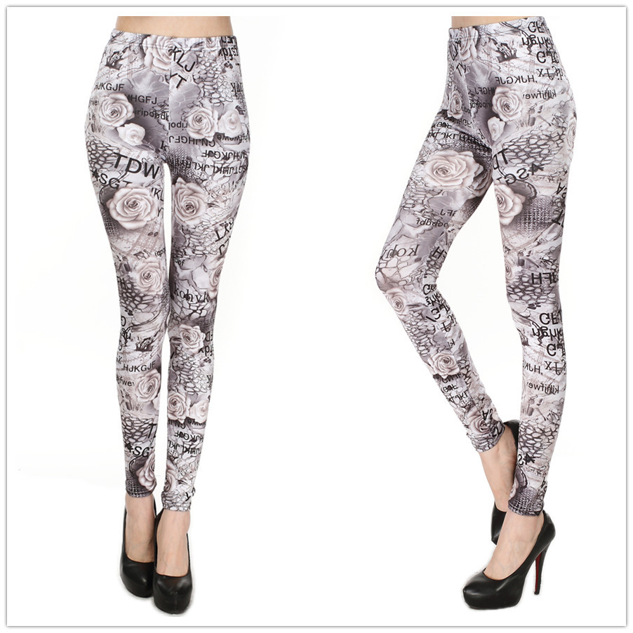 American Apparel Letter Rose Print Women Leggings Tie Dye Printed Leggins Fitness Sports Legging Clothing - DOKI store