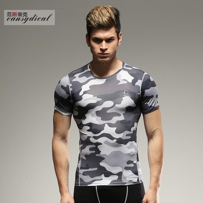 Mens compression t shirt base layer camouflage tights for Compression tee shirts for men