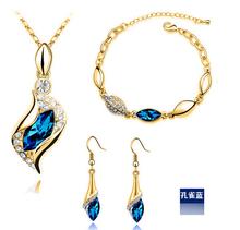 Fashion Horse Eye Crystal Earrings Necklace Jewelry Set Water drop set Angel elves set
