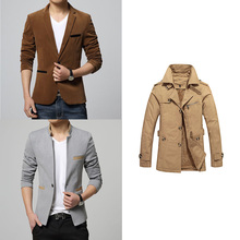 2015 New arrival winter long section high quality men's trench coat fashion manteau homme slim fit solid color trench coat men(China (Mainland))