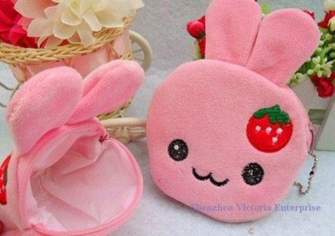 10PCS Strawberry Rabbit Plush Coin Purses & Wallet Pouch Case BAG; Pendant Bags Pouch Beauty Holder Handbag(China (Mainland))
