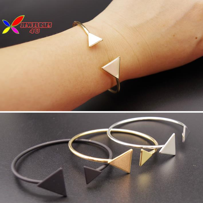 2015 christmas gift fashion hip-hop gold silver black copper triangle geo cuff bangle club women's bracelet pulseiras de couro(China (Mainland))