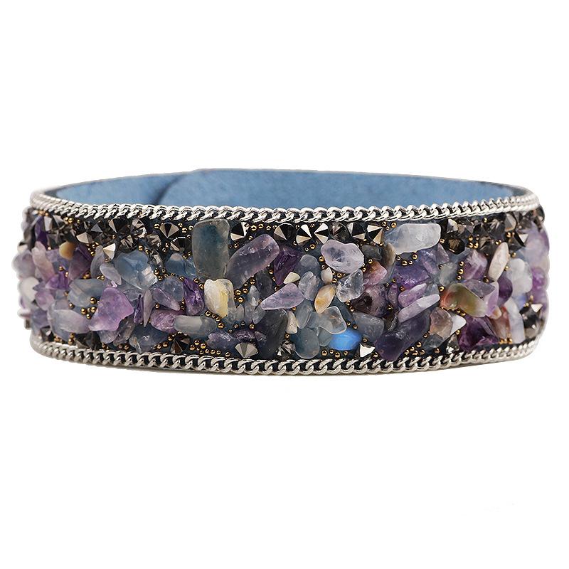 Leather Bracelets Women Men Natural Stone Crystal Cuff Bangles Rhinestone Charm Europe Link Chain PU Wristbands Fashion Jewelry(China (Mainland))