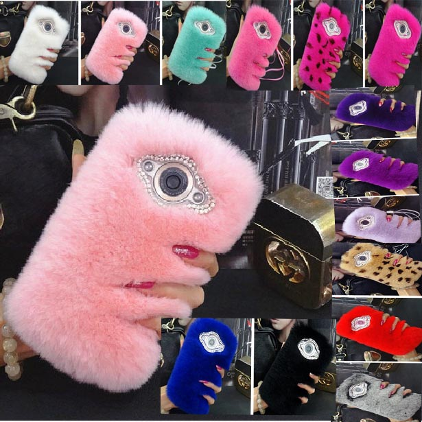 Top Quality Fur Case For Apple Touch 5 Back Cover Luxury Pink Rabbit Hair Bling Funda Coque Capa Carcasas Furry Phone Case+Gift(China (Mainland))