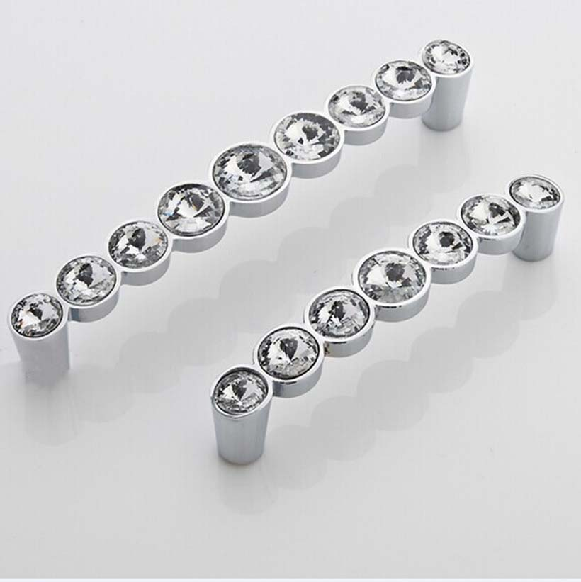 128mm glass crystal kichen cabinet handles chrome dresser pull shiny silver drawer cupboard wardrobe furniture handles pull knob