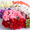 Paper Flowers Wedding decoration Mini Rose Flower Hand Made Small Wedding Bouquet Scrapbooking Christmas Decor Free