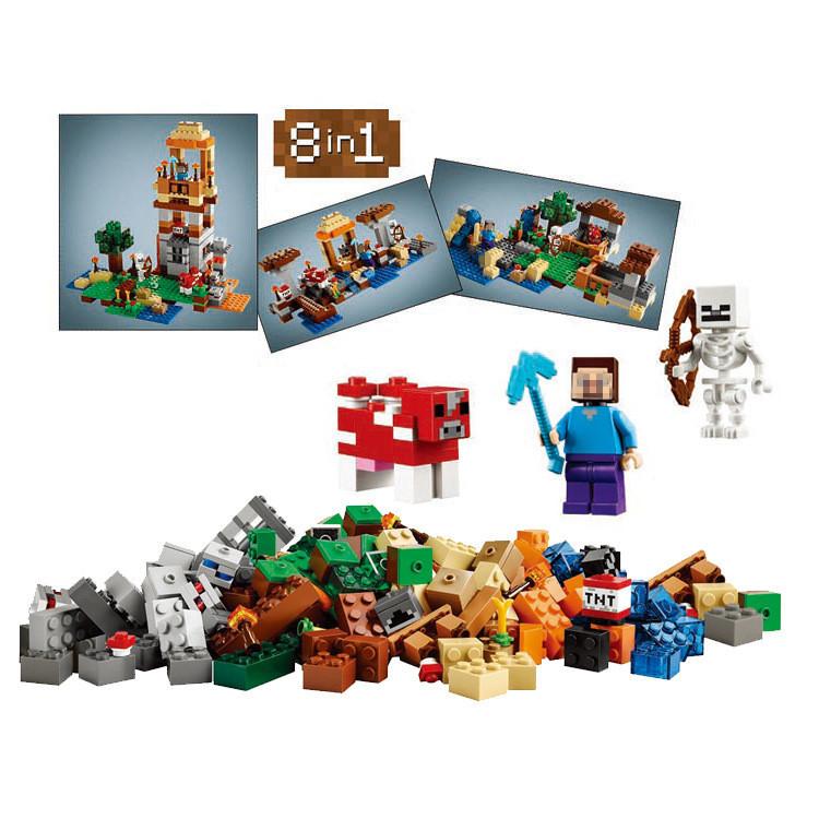 8 in 1 Crafting Box Minecraft MY WORLD legoelieds Steve Skeleton Mooshroom Minifigures Building Blocks Bricks Toy Gift Children(China (Mainland))