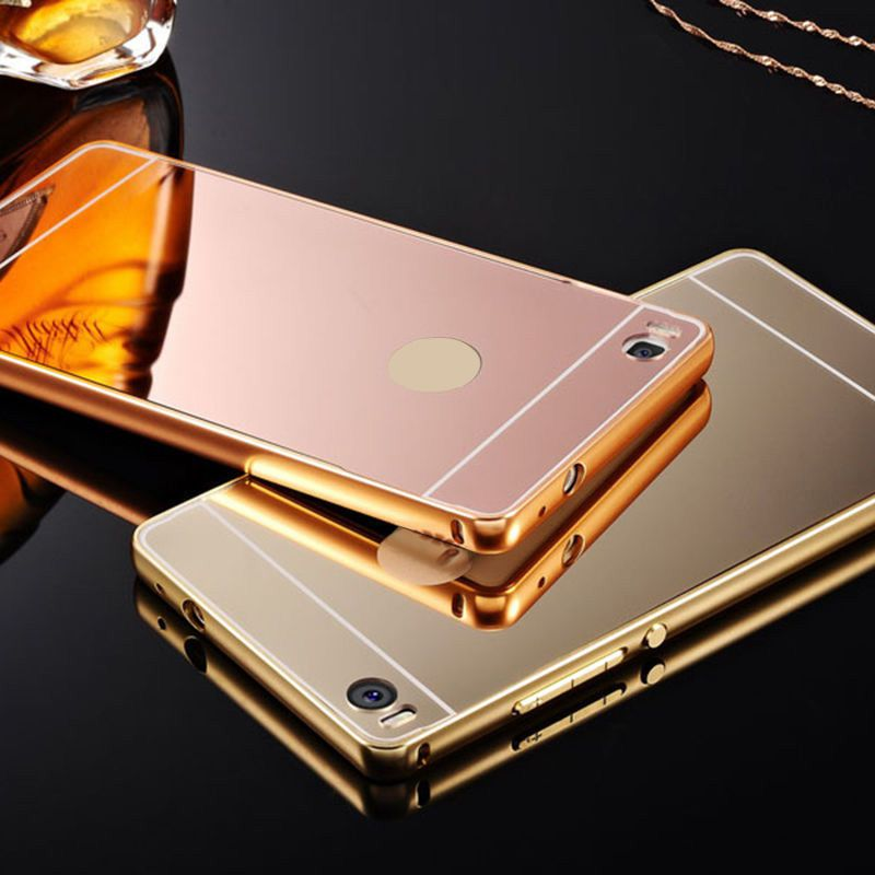 Hot Aluminum Metal Frame And Mirror PC Back Cover Case For HUAWEI P8 & P8 Lite Various Huawei Cell Mobile Phone Bag Case(China (Mainland))
