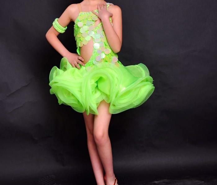 customize girls sequins flower Latin dance competition dress tailor woman professional rumba/samba dance performance costume(China (Mainland))