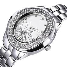 Nueva moda mujeres rhinestone relojes de marca reloj del cuarzo de japón Miyota 2035 movimiento de la flor Dial Crystal índice de resistencia al agua