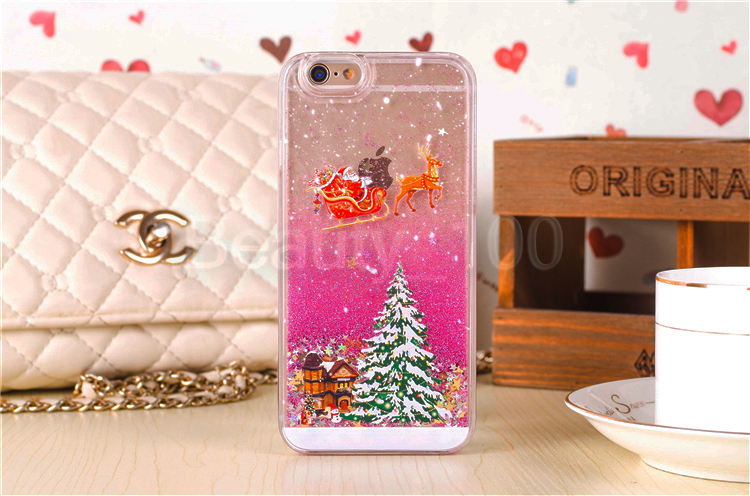 2015 New Hot Selling Liquid Santa Claus Christmas Glitter Bling Sand Quicksand Star Case Crystal Back Cover Case For iphone 5s 6(China (Mainland))