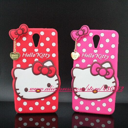 Fashion 3D Silicon Hello Kitty Polka Dot Cartoon Soft Phone Back Skin Cell Phone Back Case Cover for HTC Desire 620 / 820 Mini(China (Mainland))