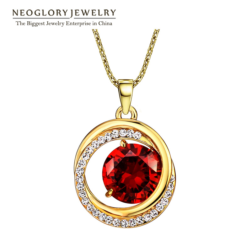 Neoglory Jewelry 14K Gold Plated Red Zircon Rhinestone Pendant Necklace Choker For Women 2016 New Birthday Gifts(China (Mainland))
