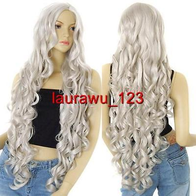 40 in. Long 100cm No Bangs Silvery White Spiral Curly Cosplay Wig<br><br>Aliexpress