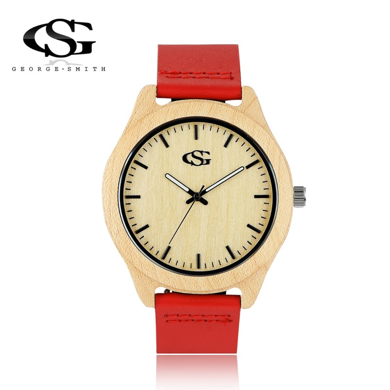 George. Smith (G.S) Mens Fashion Luxury Maple Wooden Dial Leather Strap Waterproof Quartz Wristwatch Brand Design Dress Watches<br><br>Aliexpress