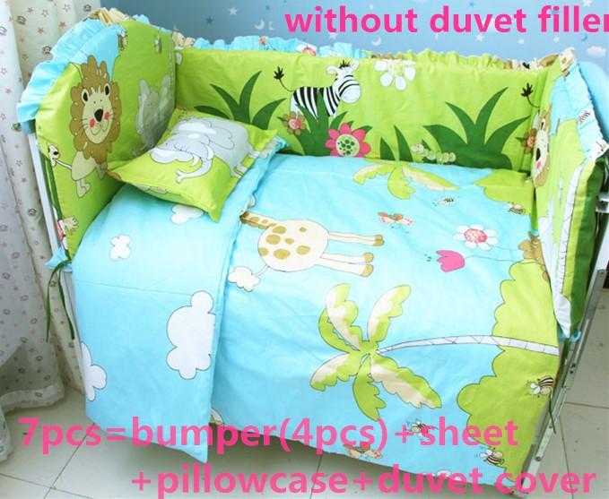 Discount! 6/7pcs Lion Baby kids bedding set kit berco cama Quilt Baby Sheets Bumper Bed Sheet,120*60/120*70cm<br><br>Aliexpress