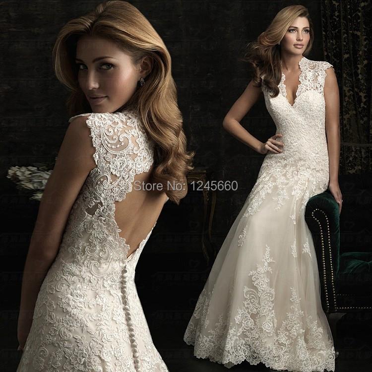 Luxury v neck champagne wedding dresses 2015 new design for Wedding dress with keyhole back