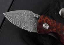 New mini snake wood grain Damascus outdoor camping knife pocket pocket knife free shipping