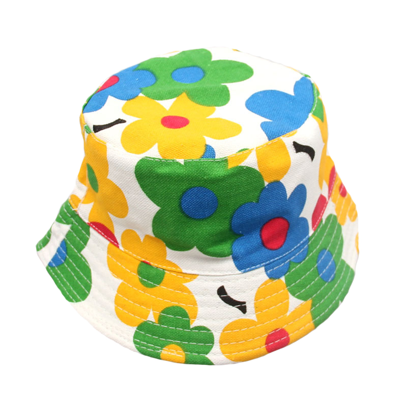1 Pc Baby Kids Boys Girls Sun Hats Toddler Infant Lovely Spring Summer Canvas Caps Newborns Print Bucket Hat Unisex Fishing Cap(China (Mainland))