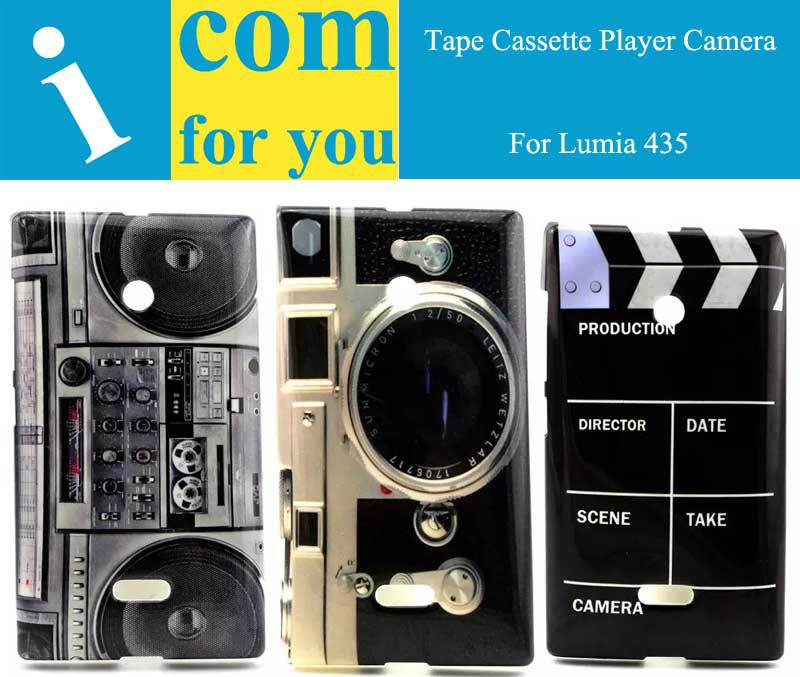 Vintage Retro Tape Cassette Player Camera soft case cover for Microsoft Lumia 435 TPU Silicon Protector capa for Lumia 435(China (Mainland))