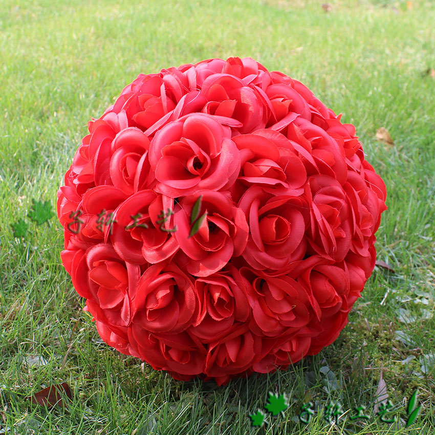 30cm artificial flower ball encryption rose ball silk flower artificial flower wedding road cited decoration(China (Mainland))