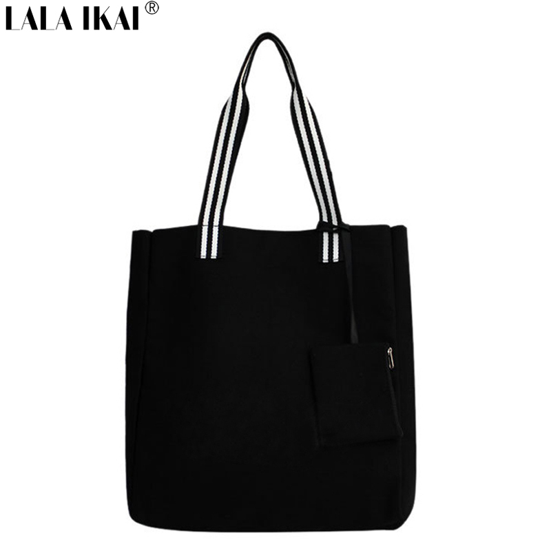 New 2015 Large Shopper Tote Designer Black Causal Big Bags Mommy Lunch Bag Woman Canvas Shopping Bag Simple Handbag BWA0389(China (Mainland))