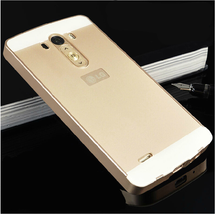 G3 Luxury Ultra thin Aluminum Metal+ Acrylic Glass Back Cover Case for LG G3 D850 Phone bags(China (Mainland))