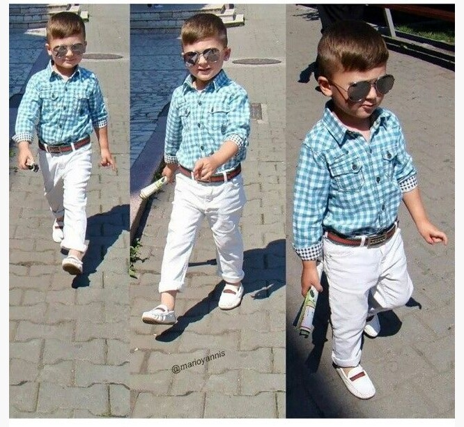 New Boy Spring Clothing Sets Children Casual Cotton plaid Long Sleeve Shirt + White Casual Trousers + Belt 3-Piece Suit Set Hot(China (Mainland))