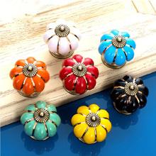 1pc Pastoralism Pumpkin Ceramic Knob, Kitchen Ceramic Door Cabinets Cupboard knob and handles Diameter 40mm YL671708(China (Mainland))