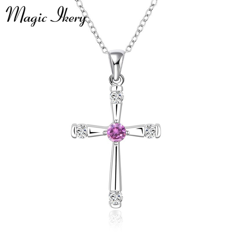 New Arrivals Brand Jewelry Silver Plated Zircon Crystal Female Wedding Bridal Cross Pendant Necklaces for Women MKN656(China (Mainland))