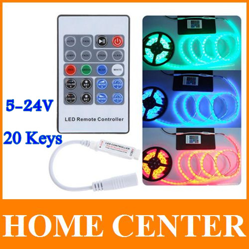 2PCS 5-24V 20 Keys Wireless RF Remote RGB LED Controller Mini LED Strip Dimmer for LED Strip 5050 3528 with tracking number(China (Mainland))